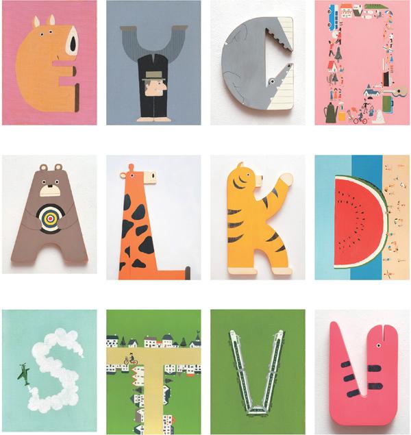 26个字母的创意插画设计